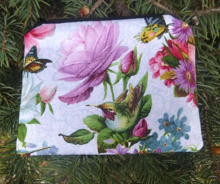 hummingbird flowers coin purse