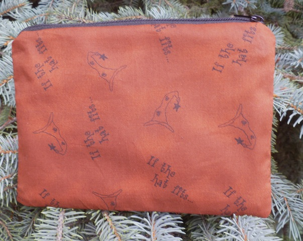 If the Hat fits witches zip pouch primitive style