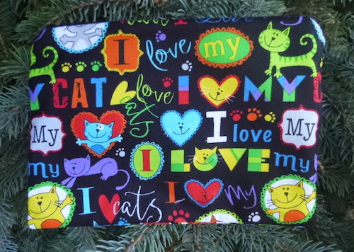 Love My Cat zippered bag for makeup or accessories