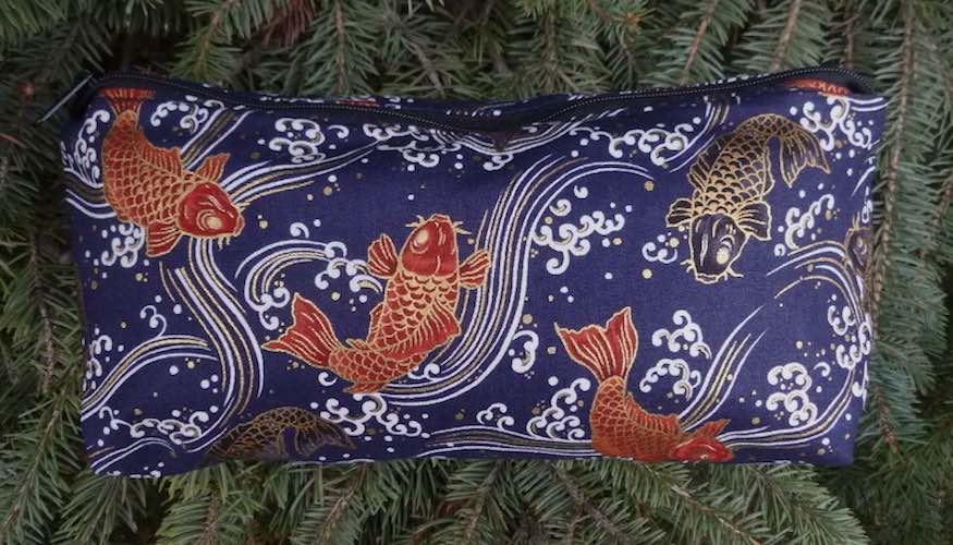 Japanese koi on indigo bag for makeup crafts knitting notions
