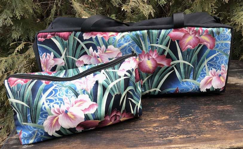 Japanese iris soft sided mahjong tote and tile bag