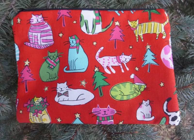 Christmas cats reusable zippered gift bag