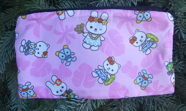 kawaii bunnies on pink pencil case