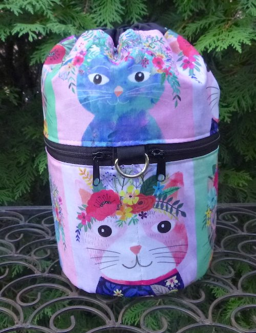 cute cats knitting project bag
