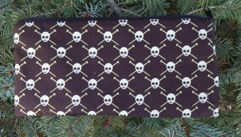 knit pirates skulls and knitting needle pouch