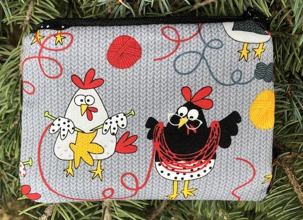 knitting chickens coin purse