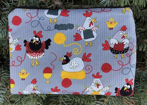 knitting chickens zippered bag