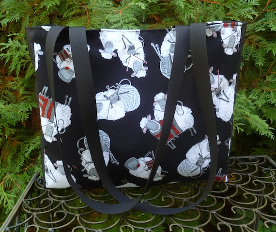 knitting tote with long handles
