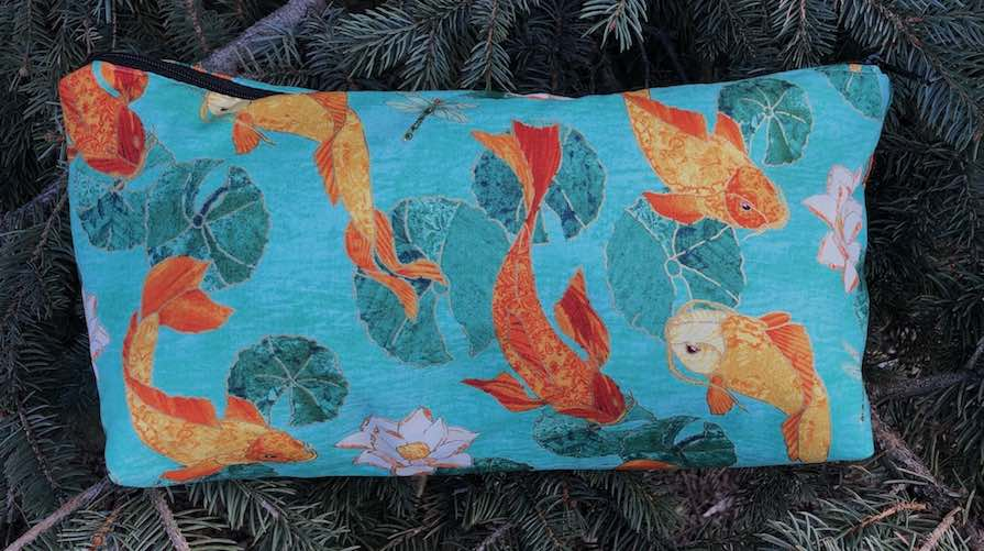 Japanese koi flat bottom bag for mahjong tiles knitting project toiletries