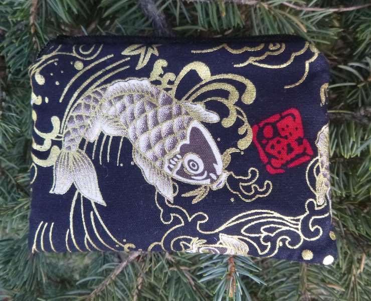 Japanese koi coin purse