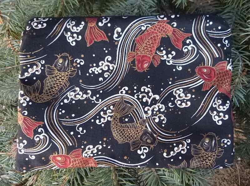 Japanese koi zippered bag