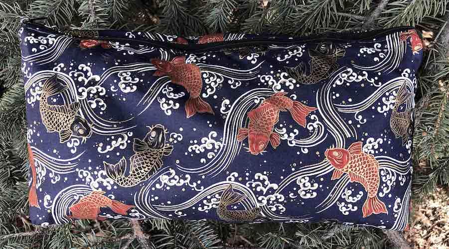 koi on indigo flat bottom bag for mahjong tiles knitting projects toiletries