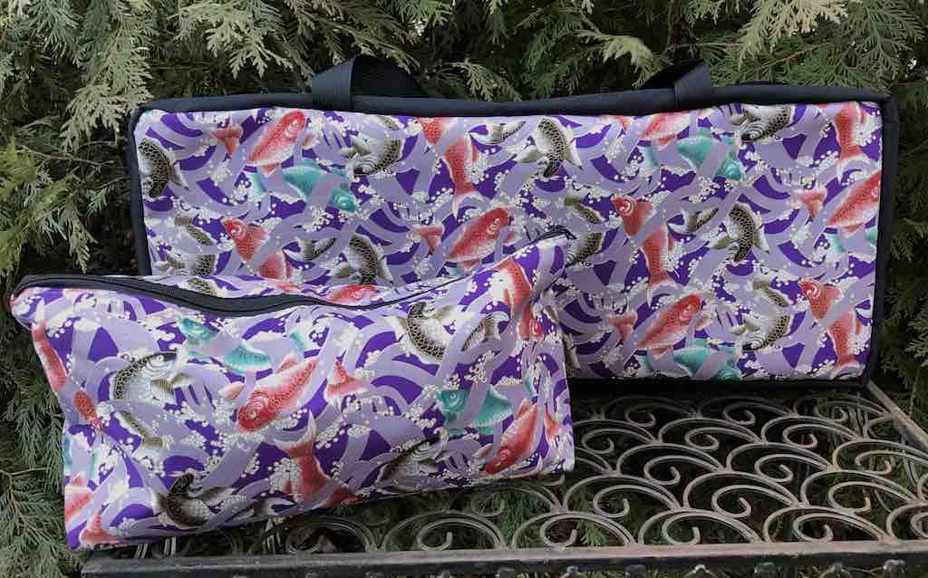 Japanese koi on purple soft sided tote and bag for mahjong racks and tiles