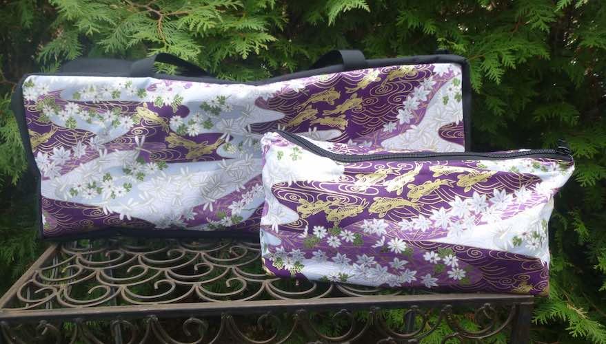 Japanese koi zippered soft sided mahjong tote for racks and flat bottom bag for tiles