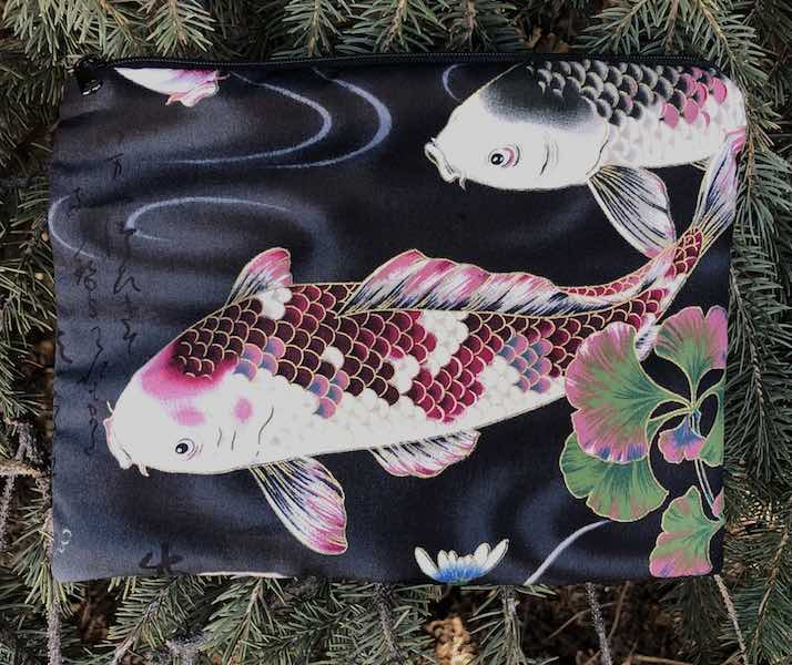 Koi and wisteria mahjong case for card and coins