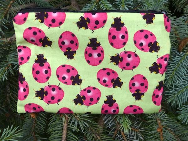 Ladybug zippered makeup bag