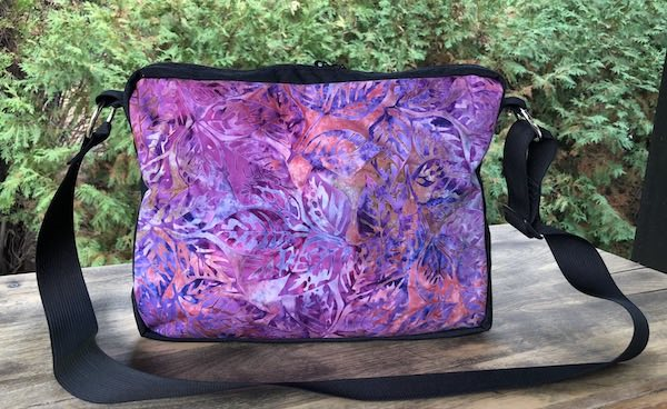 Purple batik small zippered tote