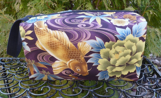 large zippered cosmetic case with pockets