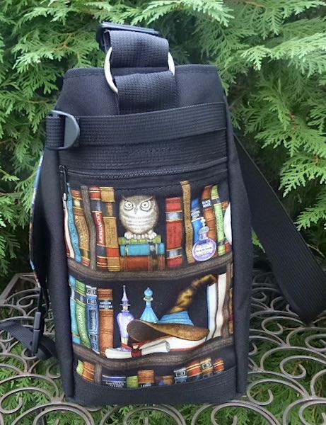 witches and wizards bookshelf messenger bag