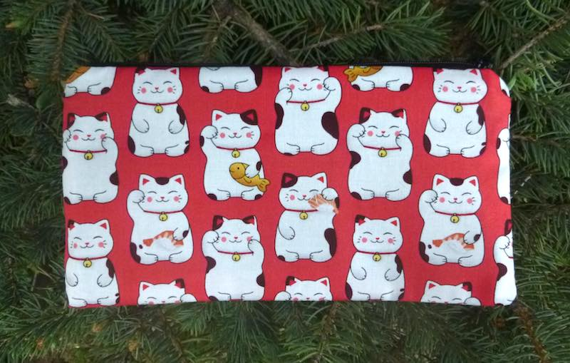 Maneki-Neko Japanese beckoning cat pencil case