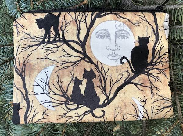 black cats and moons zippered bags