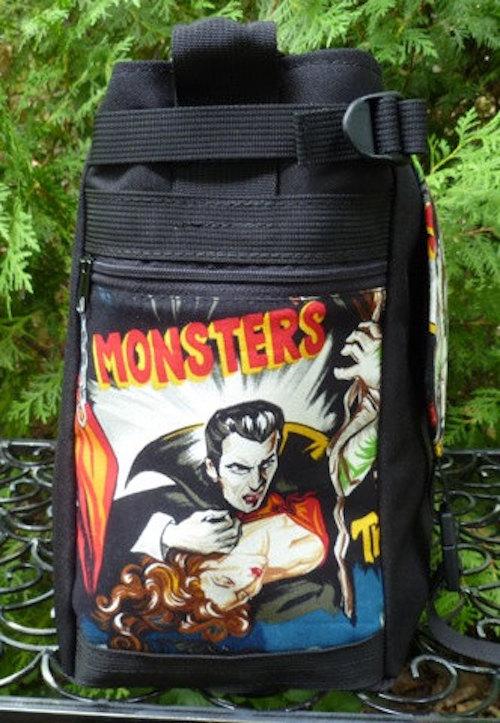 old time movie monsters vegan messenger bag