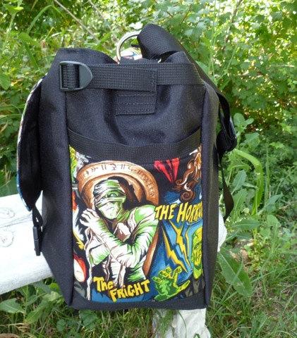 vampire, wolfman, mummy, monster messenger bag