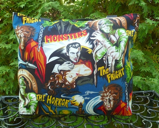 Classic movie monster purse, Dracula, Wolfman, Mummy, Frankenstein's Monster