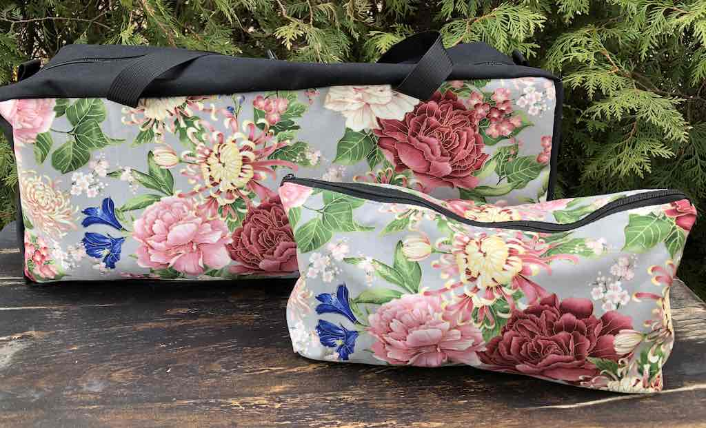 Japanese mums and peonies soft sided tote for mahjong racks and tiles