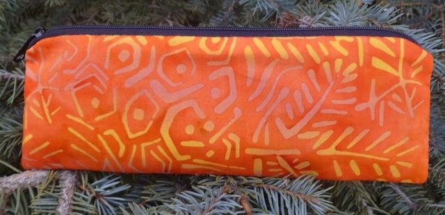 orange batik pencil case