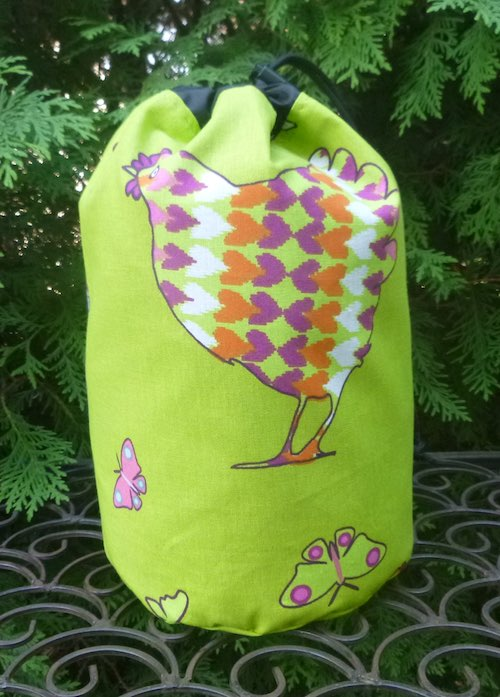chickens drawstring bag for knitting crochet mahjong scrabble rummikub tiles