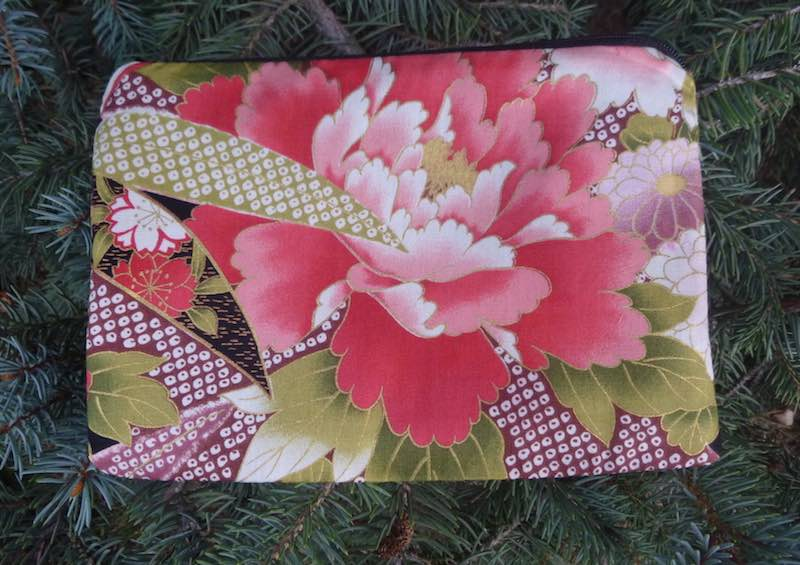 Japanese peonies phone charger pouch