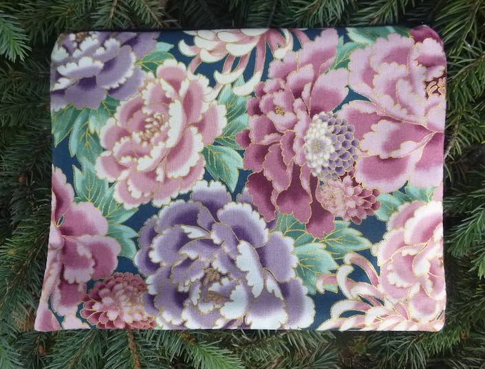 Japanese peonies extra large pencil case or makeup bag
