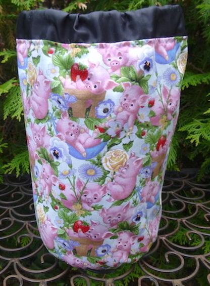 pig drawstring bag for knitting