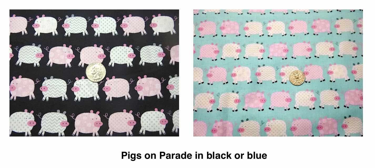 pigs drawstring bag fabric selection