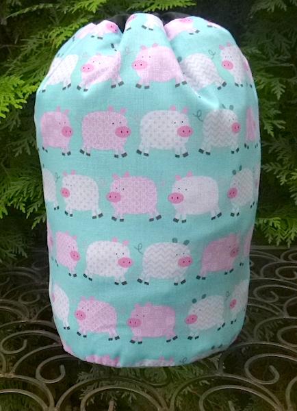 pigs drawstring bag for knitting or game tiles