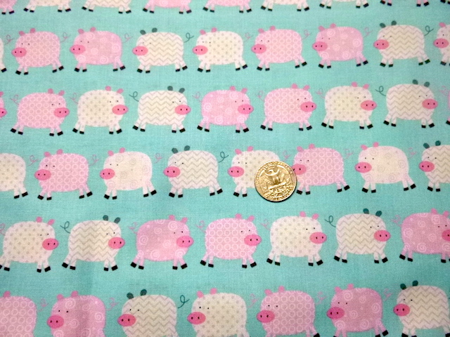 pigs on blue zippered bag for makeup or accessories