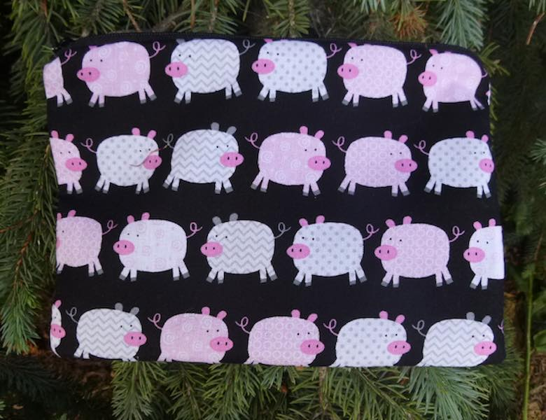 Pigs zippered bag for gifts, makeup, accessories