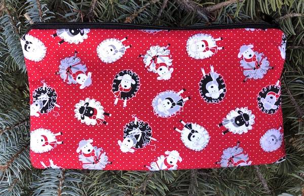 Knitting sheep pencil case knitting or crochet notions pouch