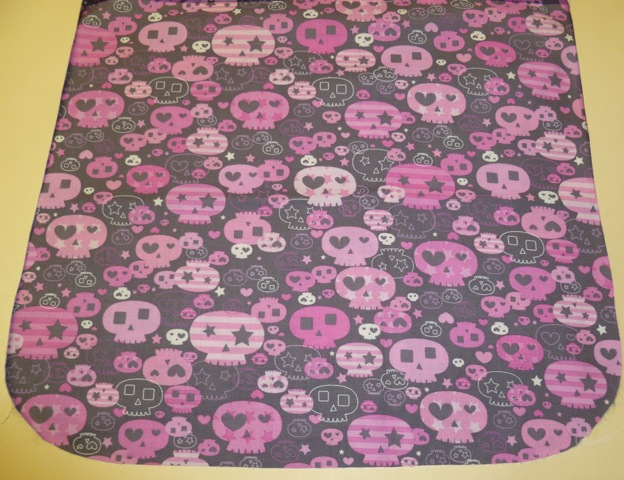 pink and gray skuls flap for messenger bag