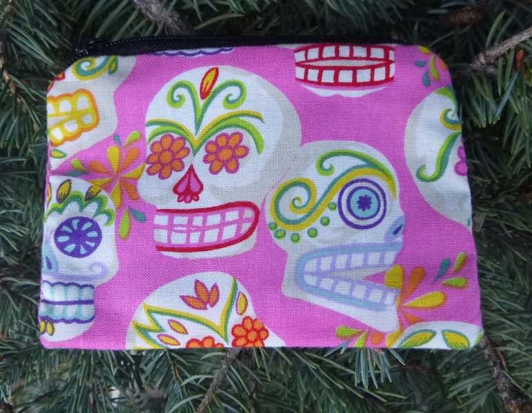 sugar skulls pink coin purse