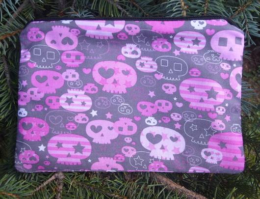 pink and gray girly skulls makeup bag