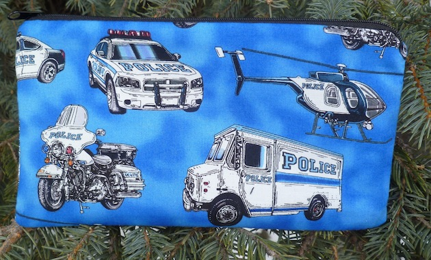 police cars helecopter and motor bike pencil case