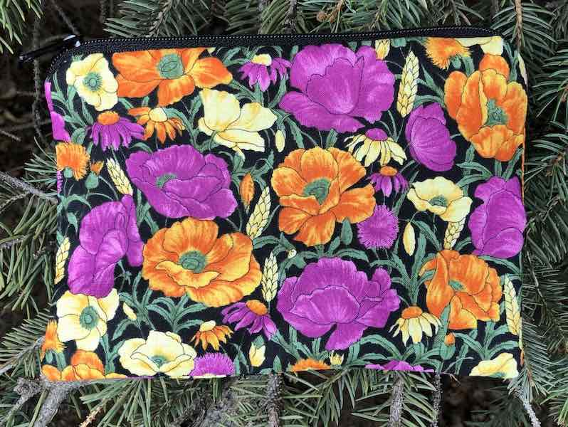 Prairie flowers small zippered pouch