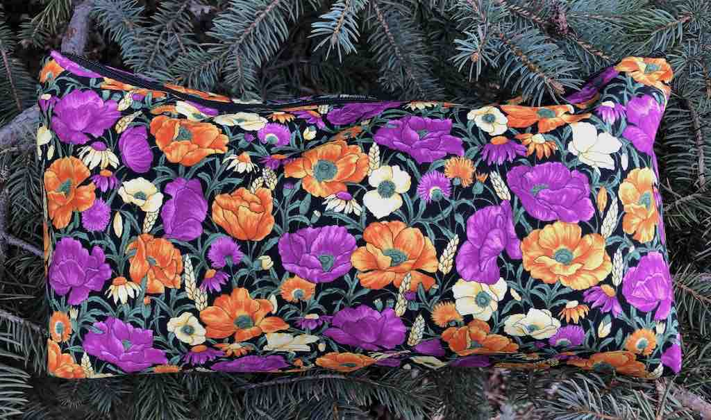 Prairie flowers large flat bottom bag for mahjong tiles, knitting or craft projects