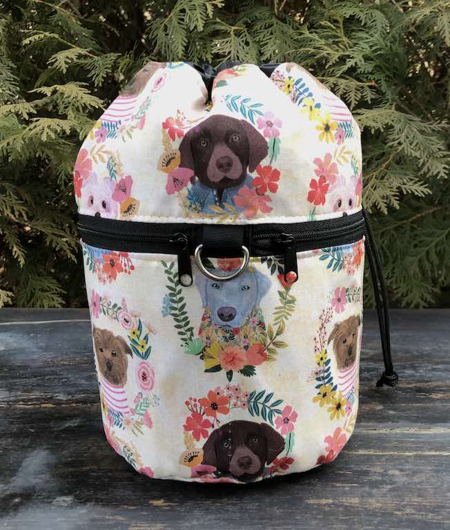 dogs knitting project bag with pockets