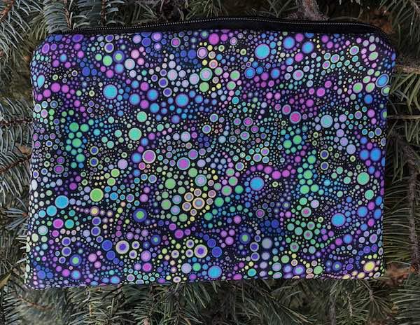 purple dots makeup accessory bag