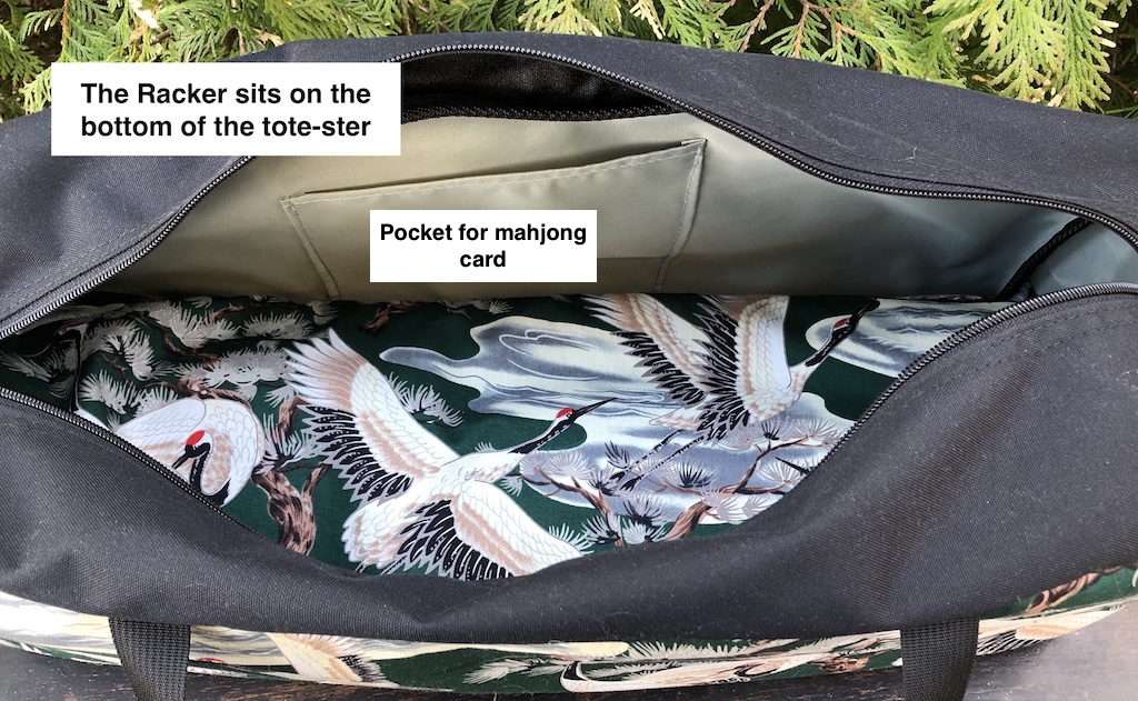 zippered tote for carrying mahjongg racks