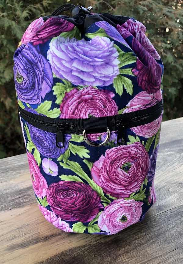 Ranunculus purple flowers knitting project bag