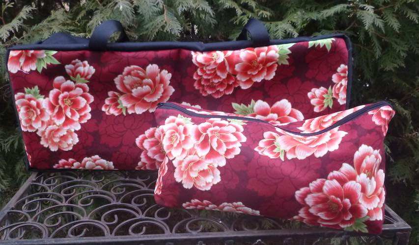 Red Japanese peonies soft sided tote for mahjong racks and pushers with bag for tiles